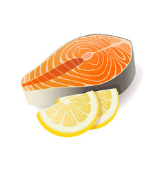 meat - red fish salmon steak with lemon vector image