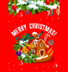 Merry christmas banner with gingerbread house vector