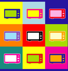 microwave sign pop-art style vector image