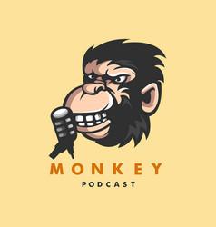 Monkey podcast logo vector