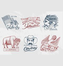 Native american set old labels or badges for vector