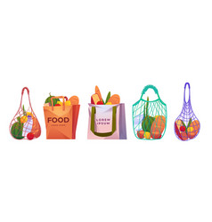 Net paper and cotton shopping bags with grocery vector