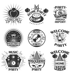 party set emblems badges stickers or vector image