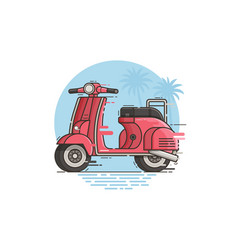 Pink motor scooter riding vector