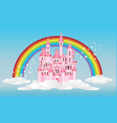 Princess castle with rainbow vector