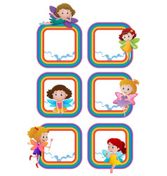 rainbow frame templates with fairies flying vector image
