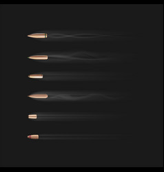 realistic bullet with smoke trace isolated set vector image