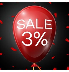 Red Baloon with 3 percent discounts over black vector