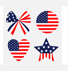 Ribbon bow shape round heart star american flag vector