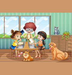 Scene with three kids working on computer at home vector