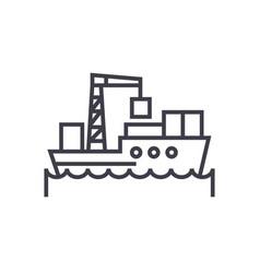 sea logistics ship concept thin line icon vector image