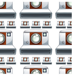 Seamless pattern tile cartoon with camera vector