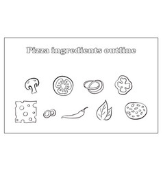 set different ingredients for pizza outline on vector image