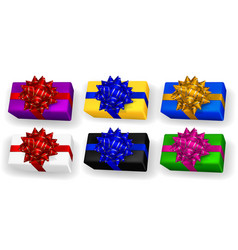 set multicolored gift boxes with bows vector image