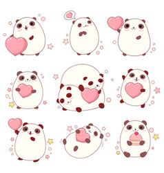 set of cute pandas in kawaii style vector image