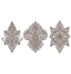 Set of henna floral elements vector