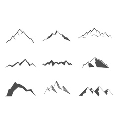Set of mountain elements outdoor icon hand drawn vector