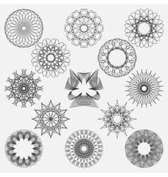 Set spirographic elements Perfect for design vector image