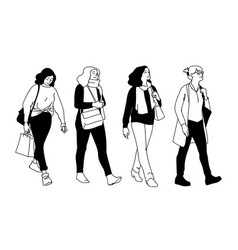 set women walking concept monochrome vector image