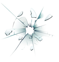 Shattered window cracked glass bullet hole vector