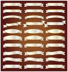 Silver ribbons set vector image