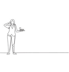 Single continuous line drawing waitress stood up vector