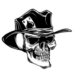 skull with top hat and ace of spades vector image