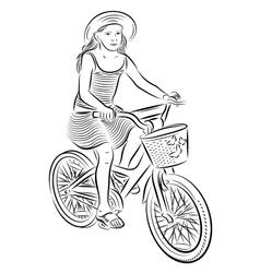 Small girl riding a bike vector