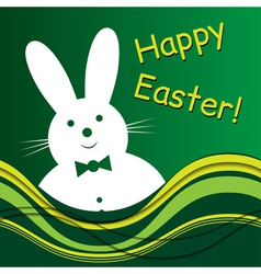 Smiling white bunny with bow tie and text vector