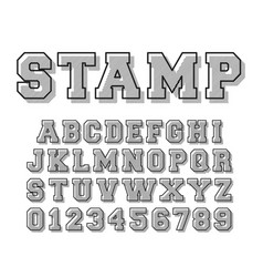stamp alphabet font template letters and numbers vector image