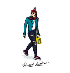 street fashion stylish young woman sketch style vector image