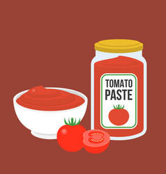 Tomato paste in bottle and in bowl vector