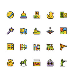 toys icon set in filled outline style vector image