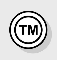 Trade mark sign flat black icon in white vector