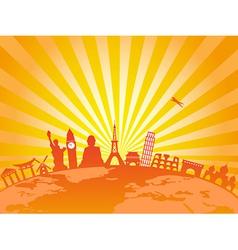 travel around the world on golden sunburst vector image