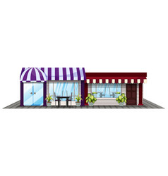 Two shops in purple and red vector