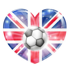 union jack soccer heart flag vector image