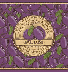 vintage plum label on seamless pattern vector image