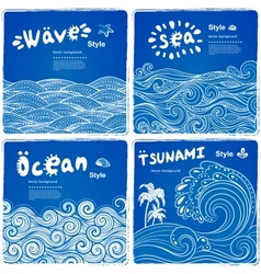 Vintage set of banners with ethnic waves vector image