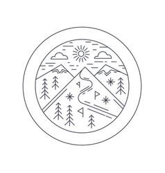 winter mountain sticker ski vector image