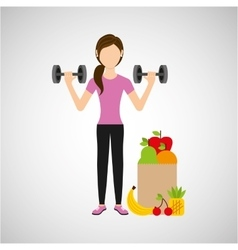 Woman dumbbell exercising healthy food bag vector