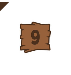 wooden alphabet blocks with number 9 in wood vector image