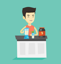 young man making protein cocktail vector image