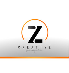 z letter logo design with black orange color cool vector image