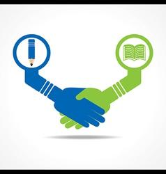 businessmen handshake between educated people stoc vector image