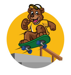 happy bear kid playing skateboard vector image vector image