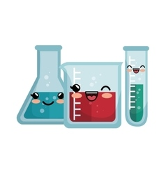 kawaii laboratory equipment flasks with liquid vector image