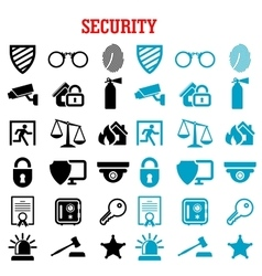 Security and protection flat icons set vector image