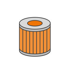 car oil filter flat line icon vector image vector image