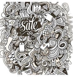 cartoon cute doodles hand drawn shopping vector image vector image